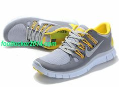Nike Free 5.0 Size 12 Shoes For Running Gray White Yellow For M