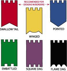 Different shapes for banner decoration. Original - Six different hem treatment are available to customize your personal Gonfalon. Designs with borders available in pointed or swallow tail only. Medieval Party, Medieval Banner, Medieval Crafts, Medieval Decorations, Castle Decorations, Medieval Castle, Viking Party, Knight Party, Church Banners