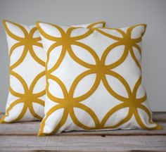 Mustard Yellow Geometric DECORATIVE PILLOW COVER | Mod Home Decor by JillianReneDecor | Modern Luxury Gift for Her | Honey Gold and Cream
