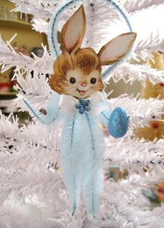 Easter Bunny Vintage Inspired Chenille Easter Feather Tree Ornament