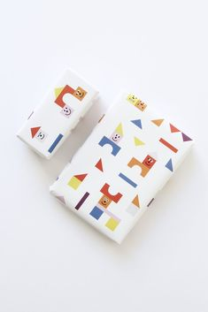 Set of 4 Building Blocks Wrapping Paper Sheets