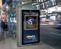 """Case: Climatic Sale Ads カナダのアパレルショップ・Mark'sが、トロントで、""""日中の気温""""とリンクしたディスカウント施策を実施しています。  アイディアは至ってシンプル"""