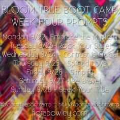 . . . and here's week 4 of @florabowley #bloomtruebootcamp I'm pinning it to ensure there is a complete record of all 4 weeks for future reference! I can't do this week because tomorrow I start a workshop with Flora in person. Woo hoo!!!