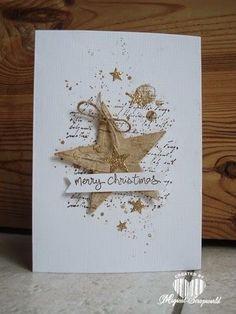 Coucou, une carte de voeux avec une grande étoile ! Voilà ce que je vous montre aujourd'hui !Elle répond au défi#470 du blog de Passion Cartes Créatives Voici un fond de cartecolorisé aux encres Distress, - quelques flocons tamponnés- des projections...