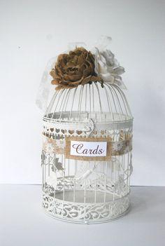 Large Wedding Bird Cage Card Holder  Burlap by MackensleyDesigns, $65.00