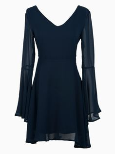 Love Love Love the back of this Dress! Navy Blue V Neck Cut Out Back Dress with Trumpet Sleeve