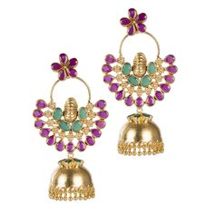 Stunning pair of Jhumki earrings with Floral Motif. Earrings decked with Semi Precious stones, Kundan and tiny gold droplets. Add this gorgeous pair of earrings with traditional or party attire to complete your look!