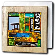Layers of several different pictures, winter, spring, summer and fall Tile Napkin Holder