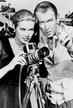 Grace Kelly and James Stewart on the set of Rear Window (1954).
