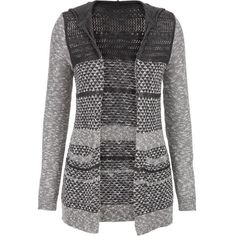 maurices Patterned Cardigan With Pockets (1.255 UYU) ❤ liked on Polyvore featuring tops, cardigans, grey, plus size knit cardigan, marled knit cardigan, gray knit cardigan, gray cardigan and plus size womens cardigans