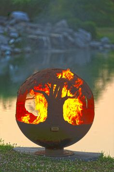 The Fire Pit Gallery - Tree of Life GAS Custom Steel Outdoor Themed Fire Pit - Artistic Sculptural Sphere, $2,349.00 (http://stores.thefirepitgallery.com/32-24-ng-match-light-gas-kit-24-penta-burner-32-burner-pan-natural-gas/)