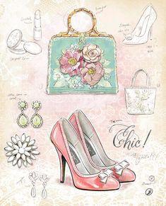 Art Print: Chic in Vintage by Chad Barrett : Decoupage Vintage, Decoupage Paper, Decoupage Shoes, Vintage Art Prints, Vintage Posters, Chad Barrett, Fashion Art, Vintage Fashion, Etiquette Vintage