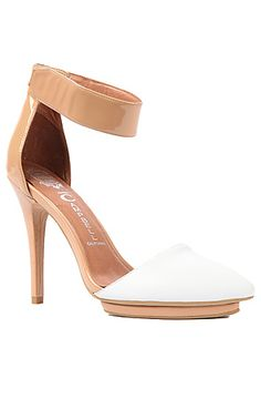 The Solitare Shoe in White Patent and Nude by Jeffrey Campbell  Perfect show for this all white party coming up.