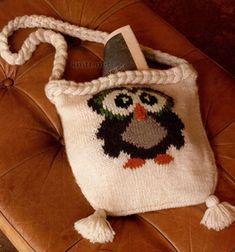 Вязаная сумка с мотивом сова в технике жаккард