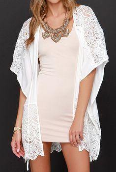 Kaftan Lines Ivory Lace Kimono Top #clothing #top #lace