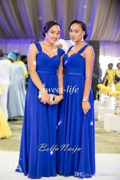 Royal Blue Bridesmaid Dresses Chiffon Cheap Spaghetti Pleat Sash Floor Length Plus Size Wedding Party Evening Dress Maid of Honor Gowns 2015