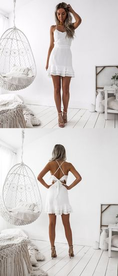 Short White Tired Homecoming Dress, Bodycon Criss-Cross Straps Prom Dress, Spaghetti Straps  Party Dress