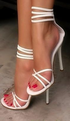 aa006758488 New Arrival White Coppy Leather Cut-Outs Ankle Strap High Heel Sandals