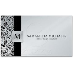 Interior design business card from zazzle business pinterest platnium damask monogram interior design business card reheart Gallery