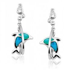 Diving Dolphin Earrings with Blue Inlay Opal for Girls and Teens in Sterling Silver