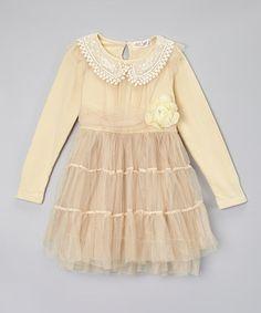 Look at this #zulilyfind! Creamy Tiered Dress - Toddler & Girls by Little Miss Fairytale #zulilyfinds