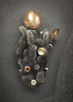 Divine Sparks series, drusy chalcedony, moonstone, diamonds, citrine, pearl, silver