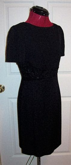Vintage Ladies Black Cocktail Dress Beaded Trim by Dani Max Size 8 Only 10 USD by SusOriginals on Etsy