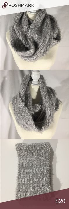 "NWT Sonoma Silver and White Infinity Scarf New. Soft and warm infinity scarf from Sonoma. Silver and white with silver metallic threads. Laying flat it measures about 31"" by 10"". 95% polyester, 5% metallic. Hand wash. Not from a smoke free house.  M76 Sonoma Accessories Scarves & Wraps"