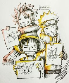 """Fairy Tail, One Piece, Naruto - """"Drawing Pikachu"""" by Artacuno"""