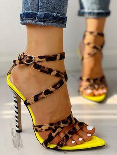 Multi-Strap Crisscross Thin Heeled Sandals