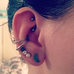 double conch piercing and rook piercing :) (and 4 lobe piercings)