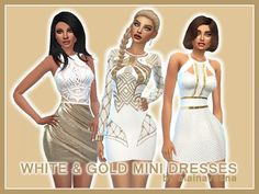 Alaina Vesna: White and Gold Mini Dresses • Sims 4 Downloads