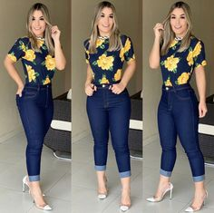 A imagem pode conter: 3 pessoas, pessoas em pé e sapatos in 2020 Curvy Outfits, Classy Outfits, New Outfits, Chic Outfits, Beautiful Outfits, Plus Size Outfits, Summer Outfits, Mode Jeans, Vetement Fashion