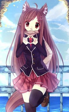 Anime picture 700x1131 with original bai kongque girl long hair single open mouth tall image red eyes brown hair lo...