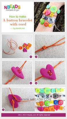 #DIY Summary: Are you thinking of using colorful buttons to make something special? See the tutorial of how to make a button bracelet with cord. It is a perfect inspiration for you to follow. You will find it so easy to put what you want into practice.