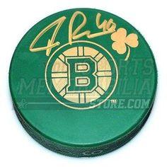 Signed Tuukka Rask Puck - Green St. Patricks Day Irish Logo - Autographed NHL Pucks