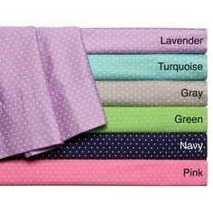 @Overstock - Swiss Dot All Cotton Sheet Set - The Swiss dot 100-percent cotton sheets will bring style and fun to your bedroom. The set includes a flat and fitted sheet, and two pillowcases in pink, grey, lavender, turquoise, navy or green. The set is available for queen, full and twin beds.  http://www.overstock.com/Bedding-Bath/Swiss-Dot-All-Cotton-Sheet-Set/8511679/product.html?CID=214117 $29.69