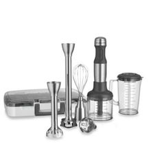 KitchenAid® 5-Speed Stainless Steel Hand Blender - So many tools in one and it have a protector for non stick cookware.  Finally a hand blender that can be used in nonstick cookware.