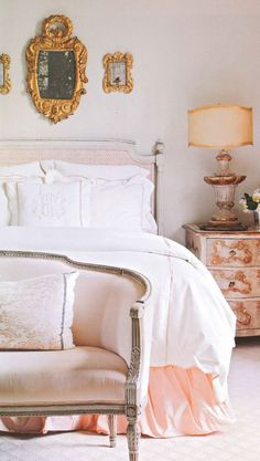 Perfectly pink bedroom via Better Homes Gardens. this is the feel Im going for (although less formal) soft and feminine. Cozy Bedroom, Dream Bedroom, Bedroom Decor, Peach Bedroom, Tangerine Bedroom, Master Bedroom, Feminine Bedroom, Bedroom Ideas, Pink Bedrooms
