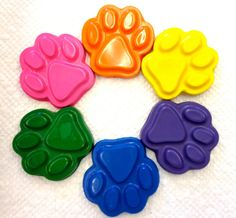 10 sets of 6 Rainbow Dog Puppy KItty Cat Paw by PlayingWithColor2, $18.50