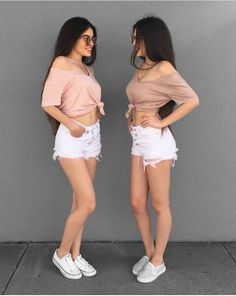 WM Twin Outfits, Crop Top Outfits, Matching Outfits, Summer Outfits, Cute Outfits, Star Fashion, Girl Fashion, Daily Fashion, Fashion Outfits