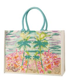 Love this Green & Pink Palms Tote by Capelli Straworld Inc. on #zulily! #zulilyfinds. $11.99