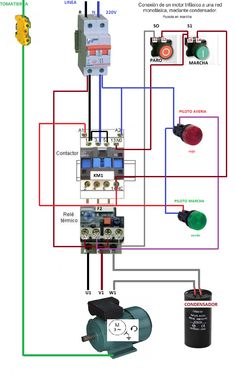 contactor wiring guide for 3 phase motor with circuit breaker rh pinterest com timer relay contactor wiring diagram contactor relay wiring diagram pdf
