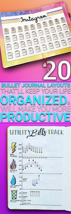 Bullet journal ideas   If you want to be more productive, then you have to stay organized. If you struggle with being organized then you need to take a look at these bullet journal hacks that'll help you improve your productivity and keep your life on track. The best bullet journal inspiration for layout ideas that'll keep you organized everyday.
