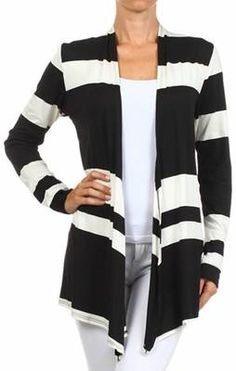 Black White Stripe Cardigan www.runwayomaha.com