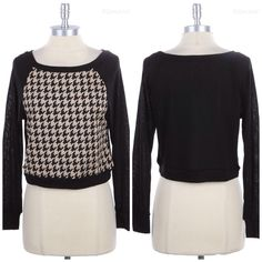 Houndstooth Long Sleeve Hacci Sweatshirt S-3X