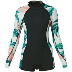 Billabong Womens Spring Fever 2mm Back Zip Long Sleeve Shorty Wetsuit... ❤ liked on Polyvore featuring tops, billabong, billabong tops, zip back top, wetsuit top and wet suit