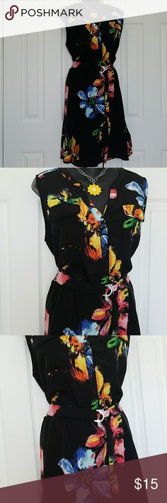 """XXL MOSSIMO DRESS Beautiful silky black with bold floral Sleeveless and comes with a buckle belt 22"""" Bust  40"""" Length  Excellent Like New Condition  non smoking home Mossimo Supply Co. Dresses Midi"""