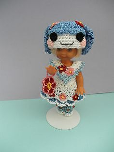 Crochet-Doll-Clothes-Blue-Flower-Loopsy-for-4-Kelly-same-sized-dolls
