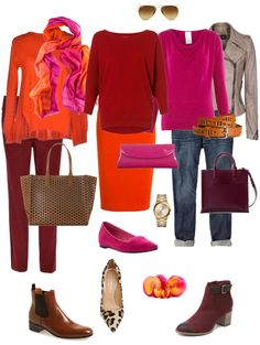 Dark Red with Pink and Orange